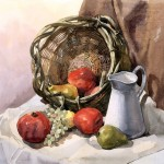 Still life with basket by Vladislav Yeliseyev at Renaissance school of art