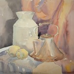 Still life with teakettle watercolor stage 1