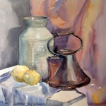 Still life with teakettle watercolor stage 2