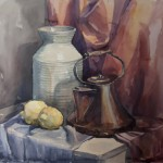 Still life with teakettle watercolor stage 3