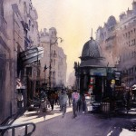 Watercolor by Vladislav Yeliseyev Colonne Morris Parisienne