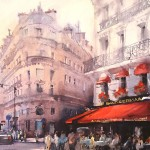 Cafe Le Saint-Germain, watercolor by Vladislav Yeliseyev