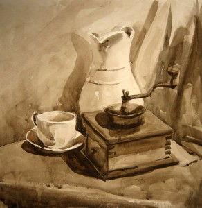 Students tonal watercolor study