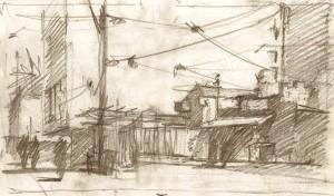 Landscape perspective sketch